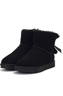 Black Snow Boot Pendant Bowknot Lady Wool Round Toe Shoes Flat Boots FN3281-1
