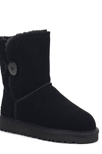 Black Button Round Toe Shoes Snow Boots FN5803-1