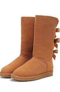 Chestnut Snow Boot Bowknot Lady Wool Round Toe Shoes High For Boots FN3283-1