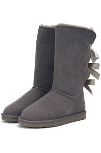Gray Snow Boot Bowknot Lady Wool Round Toe Shoes High For Boots FN3283-2
