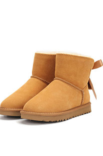 Chestnut Snow Boot Pendant Bowknot Lady Wool Round Toe Shoes Flat Boots FN3281-3