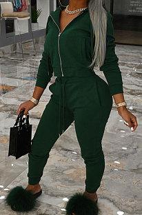 Dark Green Sports Long Sleeve Hoodie Pencil Pants Plain Color Sets XMY081-1