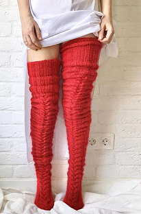 Knitted Thigh Hihg Socks in Red WLW01-5