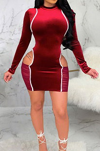 Wine Red Night Club Spliced Long Sleeve O Neck Hollow Out Slim Fitting Hip Dress SMR10699-2