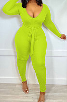 Neon Green New Ribber Long Sleeve V Neck Beltband Slim Fitting Solid Color Jumpsuits ZDD31171-4