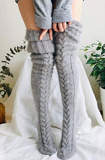 Knitted Thigh Hihg Socks in Grey WLW01-3