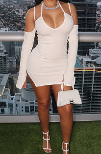 White Night Club Sexy Ribber Off Shoulder Condole Belt Solid Color Hip Dress YLY196-3