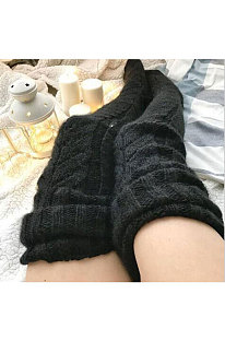Knitted Thigh Hihg Socks in Black WLW01-1