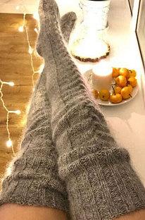 Knitted Thigh Hihg Socks in Dark Grey WLW01-2