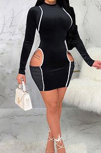 Black Night Club Spliced Long Sleeve O Neck Hollow Out Slim Fitting Hip Dress SMR10699-1