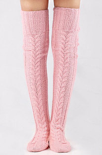 Knitted Thigh Hihg Socks in Pink WLW01-6