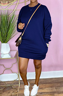 Royal Blue Cotton Blend Long Sleeve Round Collar With Pocket Casual Hoody Tops XXR3009-3