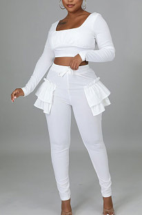 White Pure And Fresh Women Long Sleeve Square Neck Ruffle Crop Top Trousers Solid Color YYZ943-1
