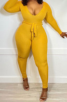 Yellow New Ribber Long Sleeve V Neck Beltband Slim Fitting Solid Color Jumpsuits ZDD31171-1