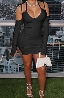 Black Night Club Sexy Ribber Off Shoulder Condole Belt Solid Color Hip Dress YLY196-4