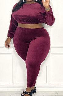 Wine Red Fat Women's Velvet Long Sleeve Round Neck Crop Tops Skinny Pants Plain Color Sets ZDD31170-1