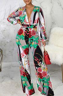 Red Pink Fashion Digital Printing Half Sleeve V Neck Collect Waist Wide Leg Jumpsuits SMR10686-2