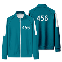 Squid Game Sport Stand Collar Long Sleeve Zipper Fleece Coat HFW01-1