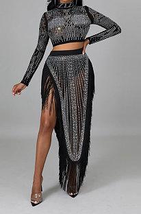 Black Women Long Sleeve Round Collar Hot Drilling Sexy Side High Split Tassel Skirts Sets CCY9327-1