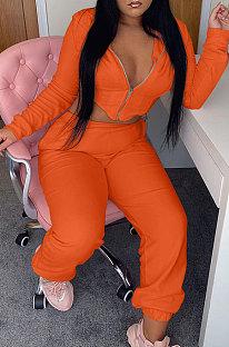 Orange Fashion Suede Long Sleeve Zipper Hoodie High Waist Trousers Plain Color Sport Sets BBN213-3