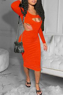 Orange Red Women Pure Color Bodycon Ribber Hole Long Sleeve Midi Dress ED1080-3