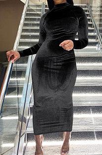 Black Women Trendy Bodycon Pleuche Solid Color Long Dress ED1078-2