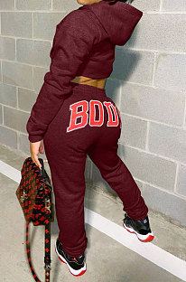 Wine Red Women Solid Color Hooded Top Sport Letters Printing Pants Sets LD8796-6