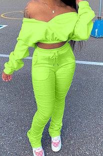 Neon Green Women Batwing Sleeve Pure Color Long Sleeve Crop Ruffle Pants Sets LD8768-5