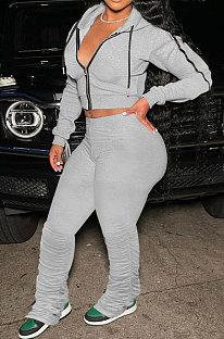 Gray Euramerican Women Autumn Pure Color Zipper Hooded Top Ruffle Pants Sets XQ1146-3
