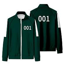 Squid Game Sport Stand Collar Long Sleeve Zipper Fleece Coat HFW01-4