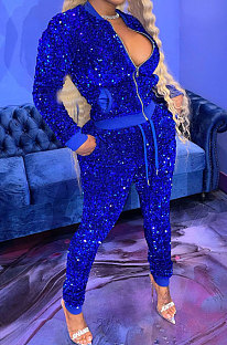 Peacock Blue Night Club Casual Saquins Long Sleeve Zip Front Coat Trousers Sets YYF8260-1