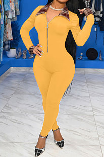 Yellow Women Pure Color Long Sleeve Zipper Plaid Printing Spliced Bodycon Jumpsuits LD81051-2