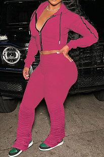 Rose Red Euramerican Women Autumn Pure Color Zipper Hooded Top Ruffle Pants Sets XQ1146-5