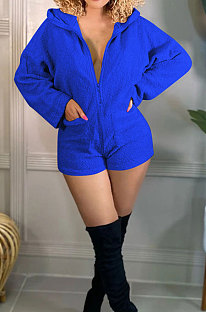 Royal Blue  Pure And Fresh Casual Polar Fleece Long Sleeve Hoodie Living At Home Romper Shorts F88397-2