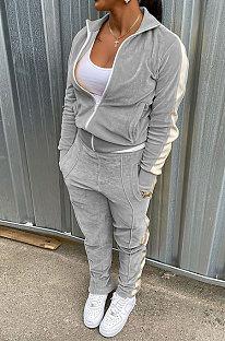 Grey Wholesale Velvet Side White Stripe Cardigan Zip Front Jacket Coat Trousers Sport Sets BM7235-2
