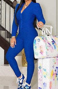 Blue Women Autumn Winter Sport Yoga Long Sleeve Cardigan Zipper Solid Color Casual Pants Sets LD81046-4