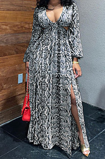 Black White Sexy Snakeskin Long Sleeve V Neck Hollow Out Collect Waist Long Dress ZS0427-1