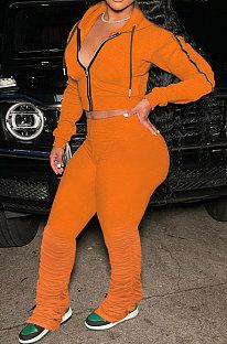 Orange Euramerican Women Autumn Pure Color Zipper Hooded Top Ruffle Pants Sets XQ1146-6