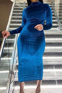 Navy Blue Women Trendy Bodycon Pleuche Solid Color Long Dress ED1078-1