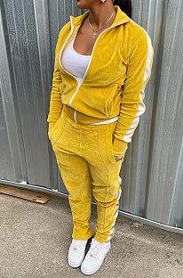 Yellow Wholesale Velvet Side White Stripe Cardigan Zip Front Jacket Coat Trousers Sport Sets BM7235-4