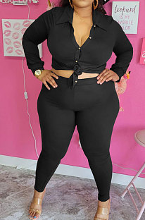 Black Big Yards Fat Women Long Sleeve Single-Breastedd Shirts Skinny Pants Solid Color Sets BBN210-3