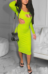 Neon Green Women Pure Color Bodycon Ribber Hole Long Sleeve Midi Dress ED1080-2