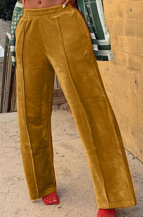 Bright Yellow Simple Luxe Velvet Pure Color Casual Wide Leg Pants DN8638-2