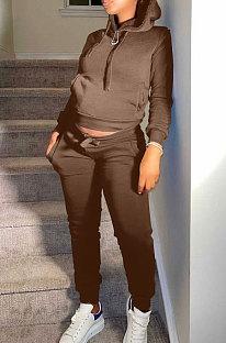 Coffee Autumn Winter New Velvet Long Sleeve Hoodie Trousers Plain Color Sports Sets LML274-4