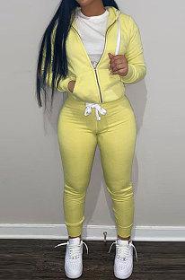 Yellow Wholesale Sports Women Long Sleeve Zipper Hoodie Bodycon Pants Solid Color Sets LML273-4