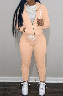 Orange Wholesale Sports Women Long Sleeve Zipper Hoodie Bodycon Pants Solid Color Sets LML273-5