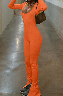 Orange Luxe Casual Cotton Blend Long Sleeve U Neck Backless Collect Waist Jumpsuits DN8636-3