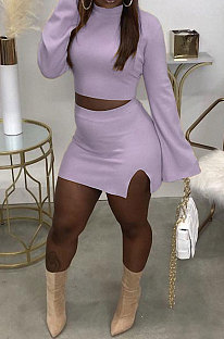Light Purple Fashion New Women's Long Sleeve O Collar Tops Split Skirts Solid Color Sets LY050-3