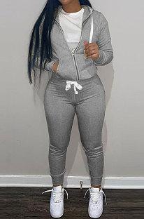 Grey Wholesale Sports Women Long Sleeve Zipper Hoodie Bodycon Pants Solid Color Sets LML273-3