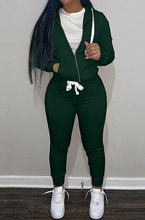 Dark Green Wholesale Sports Women Long Sleeve Zipper Hoodie Bodycon Pants Solid Color Sets LML273-7